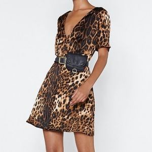 NWT Nasty Gal Leopard Print Button Front Dress